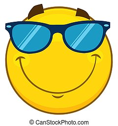 Smiling Yellow Cartoon Emoji Face Character With Sunglasses