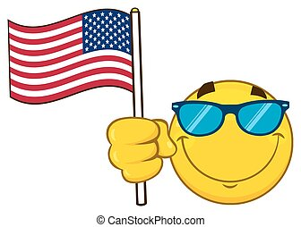 Smiling Yellow Cartoon Emoji Face Character With Sunglasses Waving An American Flag