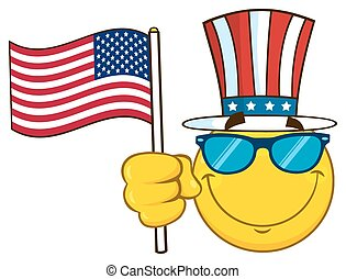 Smiling Yellow Cartoon Emoji Face Character With Sunglasses Wearing A Top Hat And Waving An American Flag