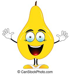 Smiling yellow pear