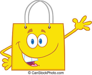Smiling Yellow Shopping Bag