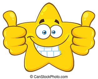 Smiling Yellow Star Cartoon Emoji Face Character Giving Two Thumbs Up. Illustration Isolated On White Background