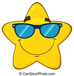 Smiling Yellow Sun Cartoon Emoji Face Character With Sunglasses