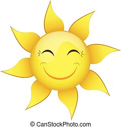 smiling yellow sun on a white background isolated