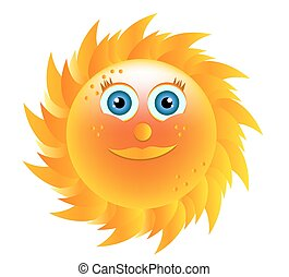 Smiling yellow sun with blue eyes