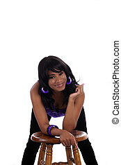 Smiling Young African American Woman Purple Top