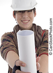 smiling young architect showing paper roll