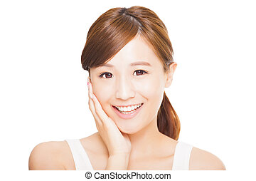 smiling young asian woman face