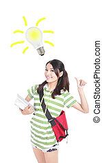 student woman having an idea with light bulb