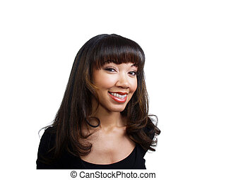 Smiling young black woman with braces on upper teeth