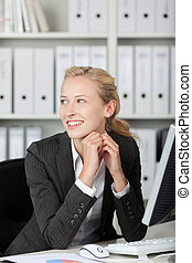 Smiling Young Blond Businesswoman Portrait