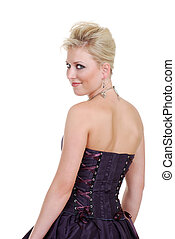 smiling young blond woman in corset
