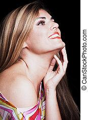 smiling young blonde woman beauty portrait studio