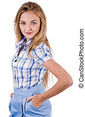 smiling young brunette model