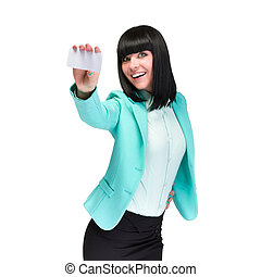 Smiling young business woman showing blank card over white