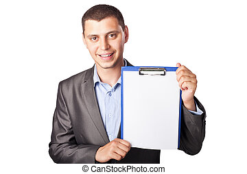 smiling young businessman holding clipboard isolated on white background