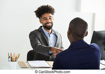 Businessman Shaking Hand With Male Candidate