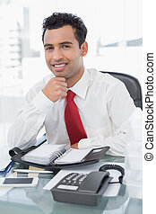 Smiling young businessman with diary sitting at office