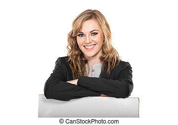 Smiling Young Businesswoman holding blank sign isolated on white