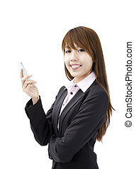 smiling young businesswoman holding smart mobile phone
