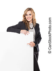Smiling Young Businesswoman holding blank sign isolated on white background