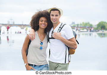 smiling young couple on holidays