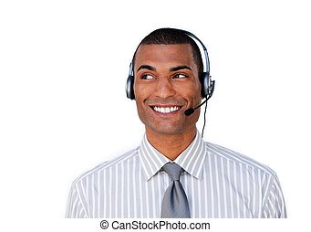 Smiling young customer service agent with headset on