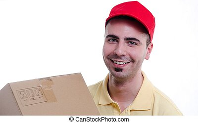 Smiling young delivery man