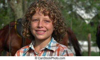 Smiling Young Farm Boy