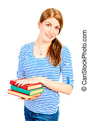 Smiling young female student with a stack of books