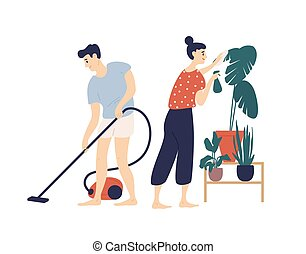 Smiling young man and woman cleaning house together. Boy vacuuming floor at home and girl taking care of plant. Everyday activity of cute funny romantic couple. Flat cartoon vector illustration.