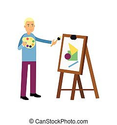 Smiling young man artist painting on canvas. Male standing with palette and brush in hands next to the easel. Vector cartoon character
