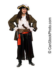 Smiling young man in a pirate costume