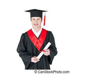 Smiling young man in graduation hat holding diploma on white