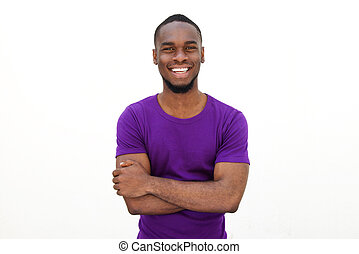 Smiling young man in purple t-shirt