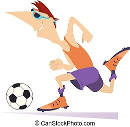 Smiling young man playing football isolated illustration