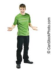 Smiling young man shrugging