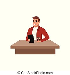 Smiling young man sitting at the desk with book and cup of coffee, student in learning process vector Illustration on a white background