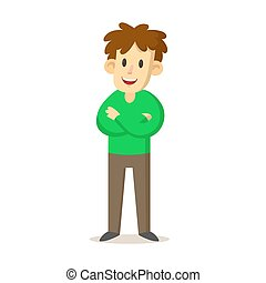 Smiling young man wearing green sweater standing with his arms crossed, cartoon character design. Flat vector illustration, isolated on white background.