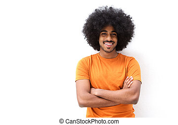 Smiling young man with afro