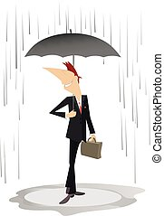 Smiling young man with an umbrella staying under the rain isolated illustration