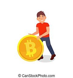 Smiling young man with big golden bitcoin, cryptocurrency mining technology vector Illustration on a white background.