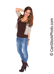 Smiling young model standing