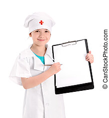Smiling young nurse showing medical report - Smiling little ...