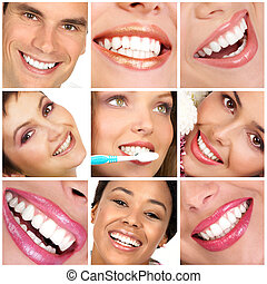 Smiling young people with healthy white teeth