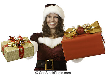 Smiling young santa claus woman hoding Christmas gift