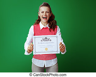 smiling young student woman showing Certificate of Graduation