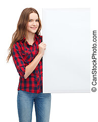 smiling young teenage girl with white blank board