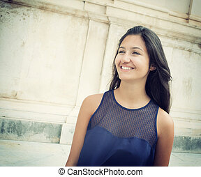 Smiling Young teenager - Young teenager with blue shirt...