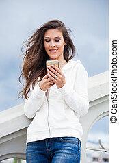 urban girl with smartphone